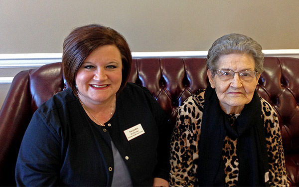 From left to right: Heritage Health Care & Rehab registered nursing Traci Junkins and Heritage Health Care & Rehab resident Polly Kyles.