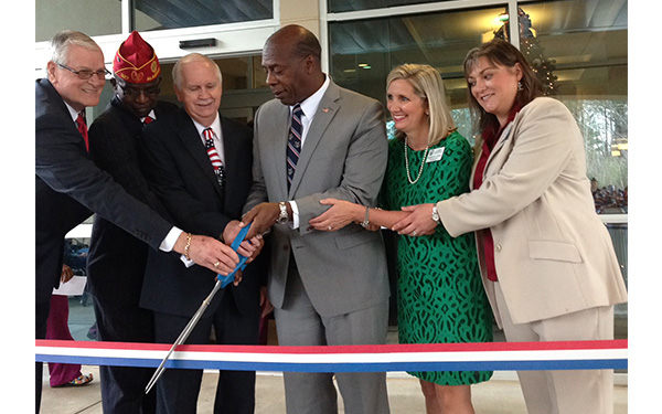 From left to right: ADVA Board Members Chad Richmond and Willis Frazier, Alexander City Mayor Charles Shaw, ADVA Commissioner Clyde Marsh, ADVA Executive Director Kim Justice and ADVA Director at Bill Nichols State Veterans Home Kathryn Fuller.