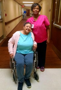 Englewood Health Care Center resident Annie Burrell and Certified Nursing Assistant Elka Easley.