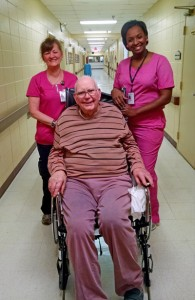 Englewood Health Care Center, from left to right, Certified Nursing Assistant Sharon Darby, resident George Sessions and Certified Nursing Assistant Shannon Wiggins.