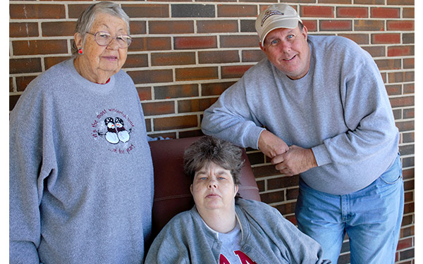 Crowne Health Care of Greenville resident Martha Foster, center, is pictured with her mother, Mittie Foster, and brother, Richard Foster.