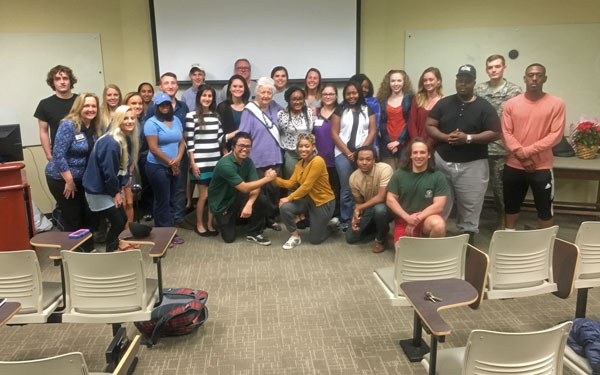 Ms. Alabama Nursing Home Sylvia Holland and University of Alabama at Birmingham Health Care Management students.