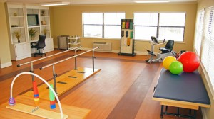 Rehabilitation gym at The Rehab Center at Dadeville Healthcare.