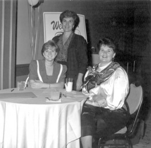 An early 1990s ANHA legislative reception. From the left, Amanda Jones Buttonshaw, Nancy Thomas and Katrina Magdon.