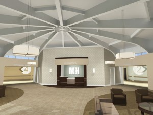 Design of the lobby. Photo courtesy of TurnerBatson Architects.