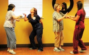 """Marshall Manor Nursing Home staff and residents dance to """"Brown Eyed Girl."""""""