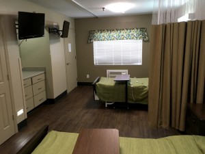 Semi-private rehab suite at Cloverdale Rehabilitation & Nursing Center.