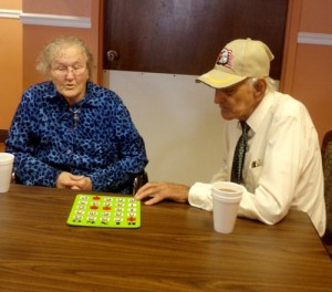 Mattie and James Mathis enjoy a game of bingo at Marshall Manor.