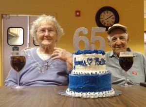Mattie and James Mathis with their 65th anniversary cake.