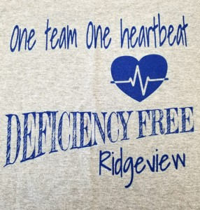 Each Ridgeview employee received a t-shirt to celebrate the deficiency free survey.