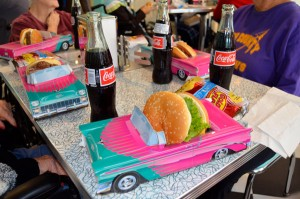 Hamburgers, chips and Cocal-Colas were on the menu for the first lunch in Bibb Medical Center Nursing Home's 50s Diner.