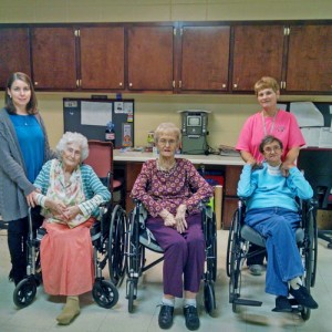 Englewood Health Care Center, from left to right, Activity Director Donna Williamson, residents Audrey Stabler, Augustine Wiggins and Martha Biggs, and Activity Assistant Susan Neal.