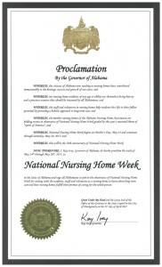 Gov. Kay Ivey's National Nursing Home Week in Alabama proclamation.